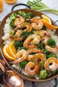 Orange Shrimp and Broccoli with Garlic Sesame Fried Rice